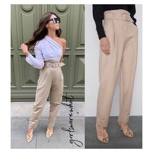 NWT Zara Size XS Belted Slouchy Pants